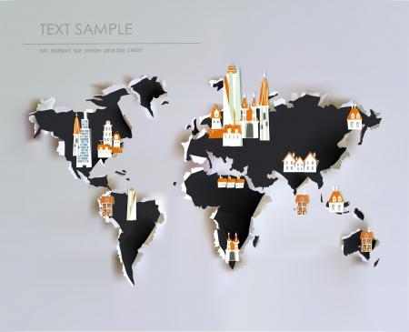 asia pacific: ripped paper map and city icons Illustration