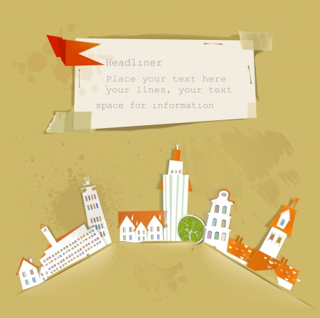 city and paper background Vector