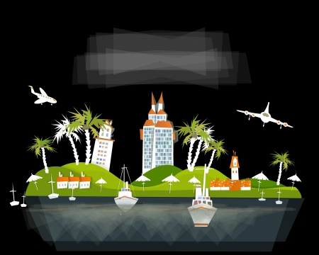city on the paradise island Stock Vector - 14092570
