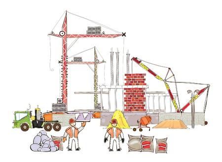 bouwkraan: bouwplaats en warkers