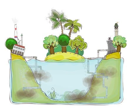 polluted inviroment and water  Vector