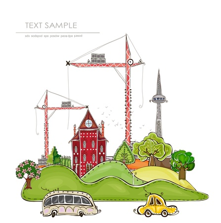 city illustration   Happy world  collection Vector