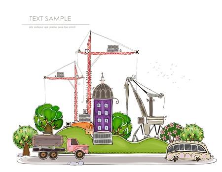 bouwkraan: stad, illustratie, gelukkig wereld collectie Stock Illustratie