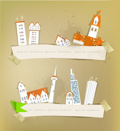 city street and paper background Stock Vector - 14070377