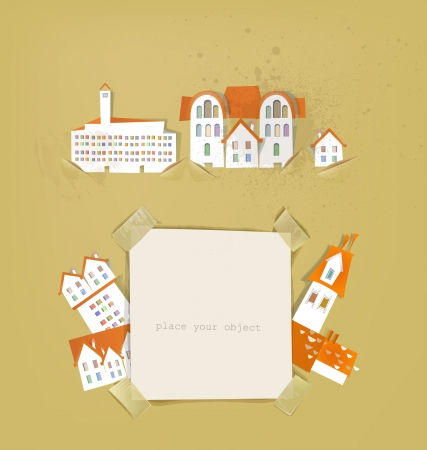 buildings and paper background Stock Vector - 14069781