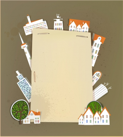 buildings, trees and paper background Stock Vector - 14070371