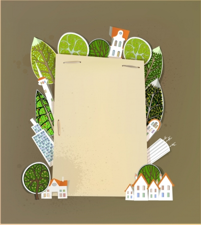 buildings, trees and paper background Vector