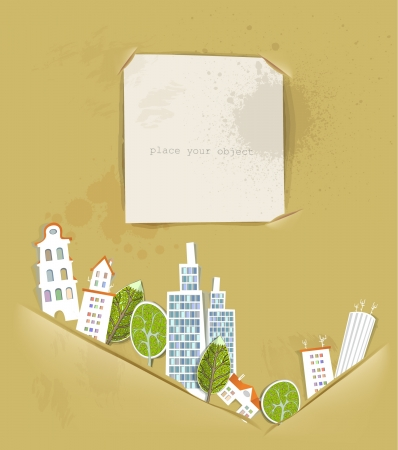 buildings, trees and ripped paper background Vector