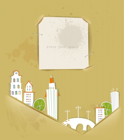 buildings, trees and ripped paper background Stock Vector - 14070367