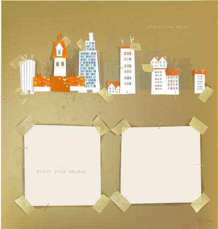 city street and paper background Stock Vector - 14070382