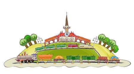 treinstation achtergrond Gelukkige wereld collectie Stock Illustratie