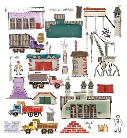 ベアリング: アイコンのコレクションの幸せな世界の国ロジャーナ工業セット  イラスト・ベクター素材