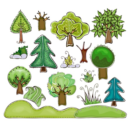 set of trees, bushes, grass and hills  Happy world  collection Vector