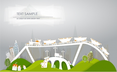 train goes to the city  White city  collection   Vector