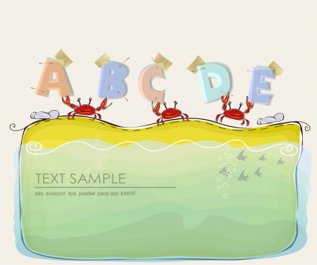 crabs on the beach holding abc  Vector