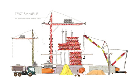 concrete blocks: building site with cranes  Happy world  collection  Illustration