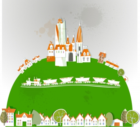 city, country side and train Stock Vector - 14291605