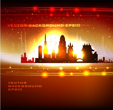 Modern city neon effect Vector
