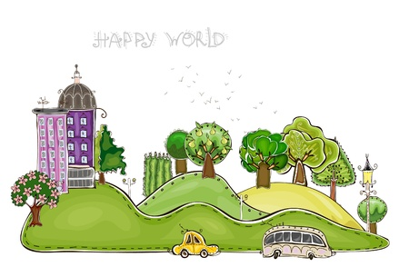 country road: city and park Illustration