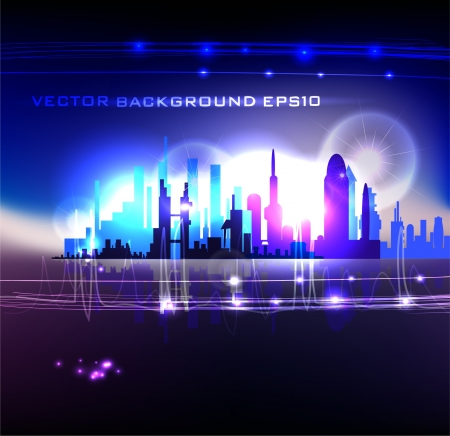 modern city in neon light Vector