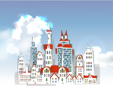 Modern city and sky Vector