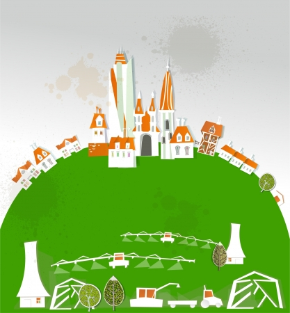 city and farm Vector