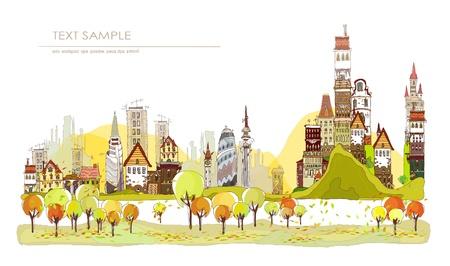 市内の非常に詳細な秋  イラスト・ベクター素材