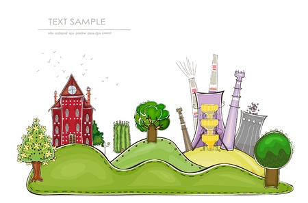 mounting: factory and country side view Illustration