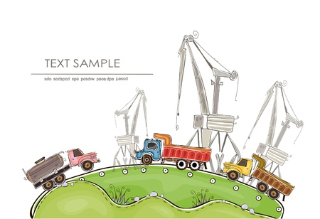 distill: industrial illustration with cranes