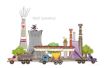 polluting: industrial illustration power station