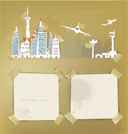 city airport  made of paper stickers Vector