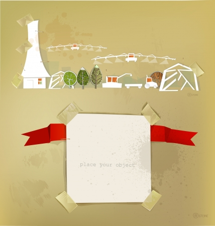farm  made of paper stickers Vector