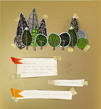 forest  made of paper stickers Vector