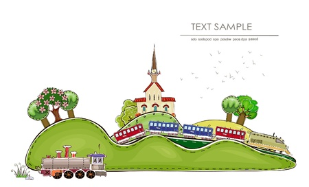 diesel train: railway station and train  Happy world  collection  Illustration