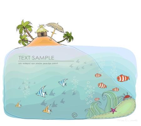 floating island: tropical paradise background Illustration