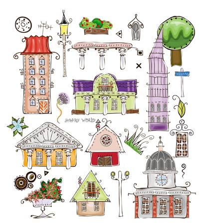 residential neighborhood: city set Illustration