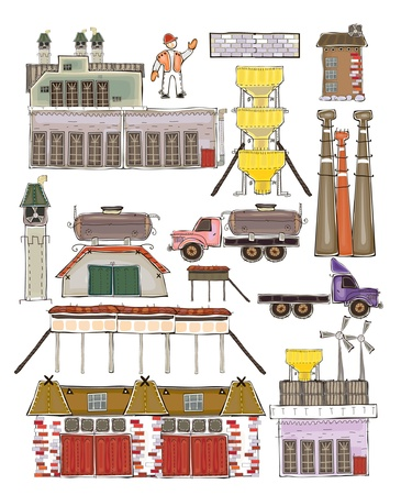 factory machine: Set of cars and industrial designs  Illustration