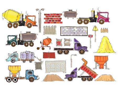 distill: Set of cars and industrial designs  Illustration
