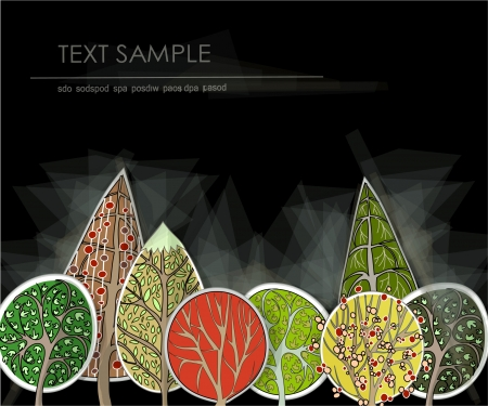 abstract forest made of paper stickers Vector