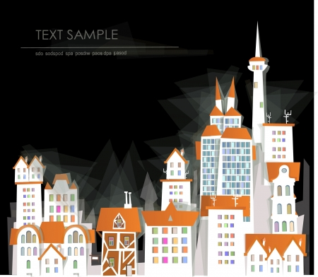 city background made of paper stickers Vector