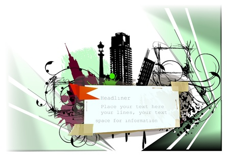 abstract city and paper background  Vector