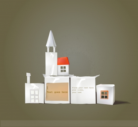 abstract city made of paper with space for text Vector