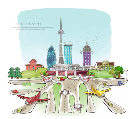 airport and modern city Vector