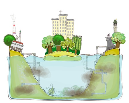 chemical pollution: polluted waterconcept background