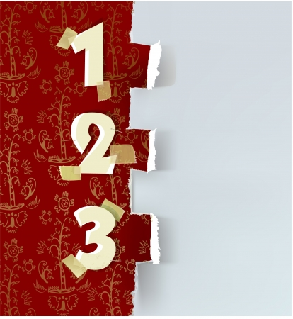 ripped paper and numbers Vector