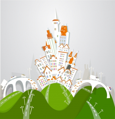 city and roads Stock Vector - 14461089