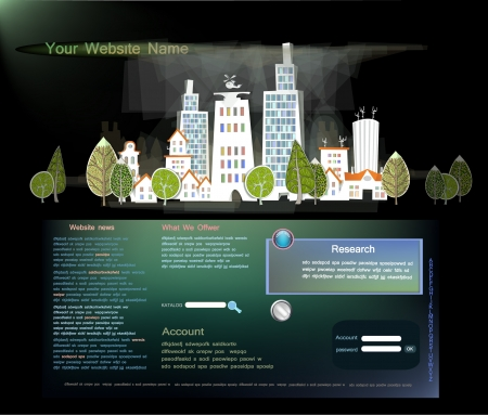 high road: web template with abstract city Illustration