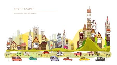 autmn: beautiful autmn city and roads Illustration