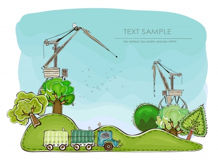 cranes and landscape Vector