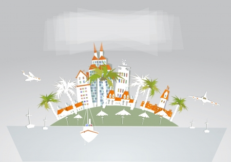 tropical beach panoramic: hotels on the tropical islands Illustration
